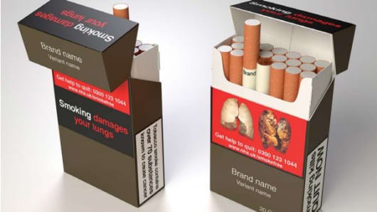 An illustration of how a UK cigarette packet would look if the plain packaging regulations were introduced.