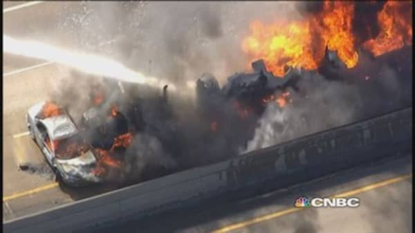 Tanker, car crash cases massive explosion on I-94