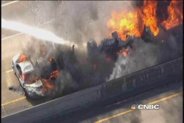 Tanker, car crash cases massive explosion on I-94