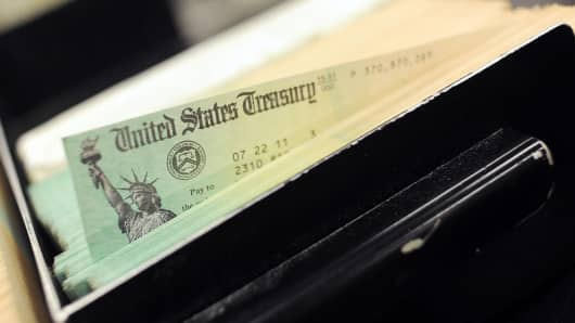 A tray of checks is shown at the U.S. Treasury printing facility in Philadelphia in this July 18, 2011 photo.