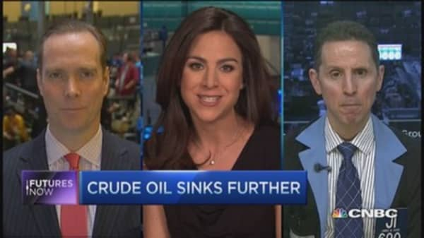 Futures Now: Crude oil sinks further
