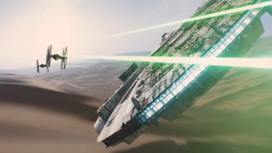 "The Millennium Falcon and TIE fighters as seen in the ""Star Wars: The Force Awakens"" teaser."