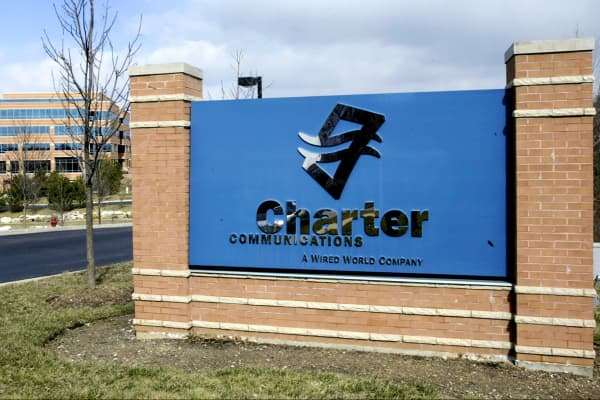 The headquarters for Charter Communications Inc., in St. Louis, Mo., is shown.