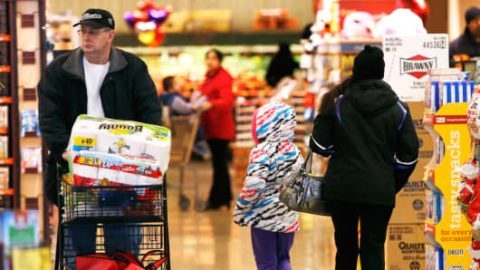 Shoppers in a Safeway store in Wheaton, Maryland.