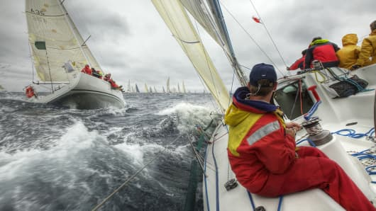 Sailing race in rough seas