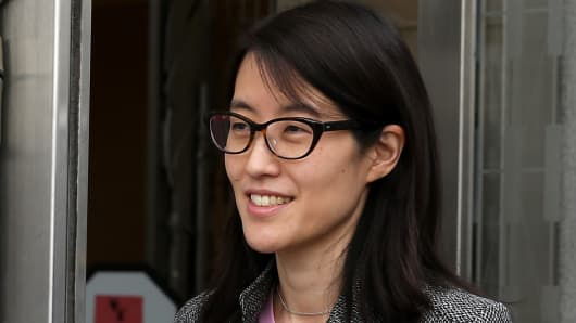 Ellen Pao leaves the Superior Court Civic Center Courthouse during a lunch break from her trial on March 11, 2015 in San Francisco.