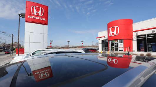 A Honda dealership as Honda recently announced more recalls.