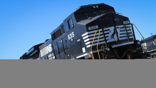 A Norfolk Southern engine sits at the Norfolk Southern Bellevue Terminal in Bellevue, Ohio.