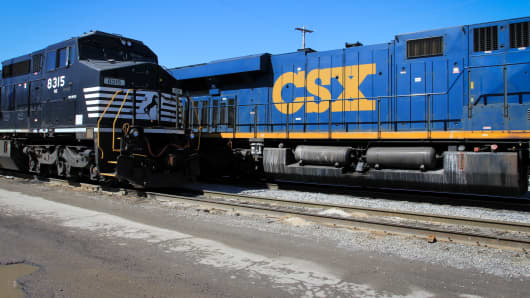 A CSX train passes through the Norfolk Souther Bellevue Terminal in Bellevue, Ohio.