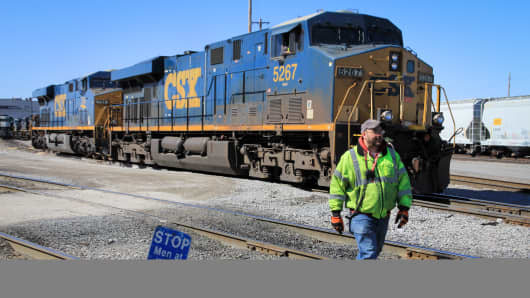 A CSX train at the Norfolk Southern Bellevue Terminal in Bellevue, Ohio.