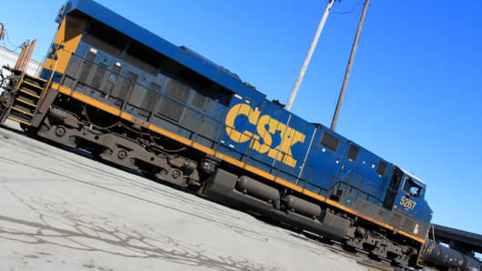 A CSX train seen at the Norfolk Southern Bellevue Terminal in Bellevue, Ohio.