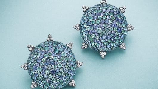 A pair of multi-colored sapphire and diamond ear clips, by JAR.