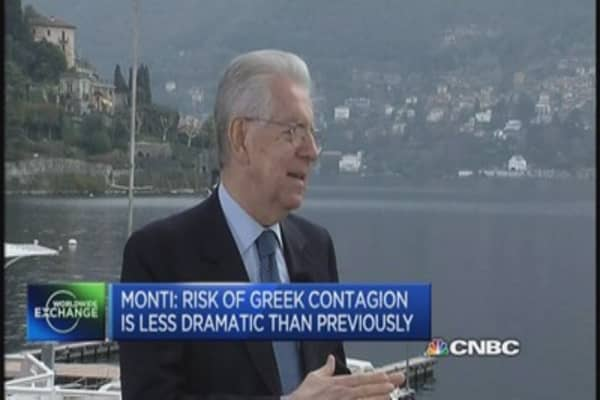 Monti: Greek contagion is now less explosive