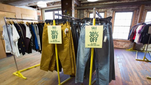 Pants for sale at an Urban Outfitters store in Pasadena, California.