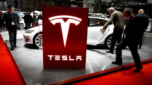 Tesla display at the Geneva car show on March 4, 2015.