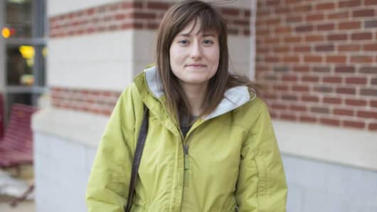 Hannah Newberg outside the restaurant where she works in Holyoke Mass.