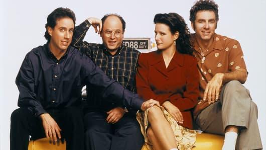 Pictured: (l-r) Jerry Seinfeld, Jason Alexander, Julia Louis-Dreyfus and Michael Richards.
