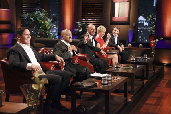 Shark Tank Hosts: L-R Mark Cuban, Damon John, Kevin O'Leary, Barbara Corcoran, and Robert Herjavec