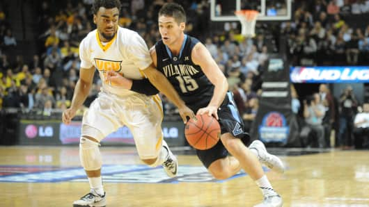 Ryan Arcidiacono #15 of the Villanova Wildcats dribbles the ball during the Progressive Legends Classic college basketball game against the Virginia Commonwealth Rams at the Barclays Center on November 24, 2014 in the Brooklyn borough of New York City.