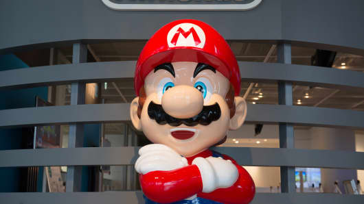 A statue of Nintendo's video-game character Mario