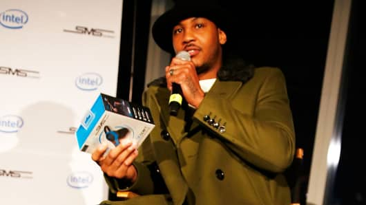 Carmelo Anthony at an Intel x SMS Audio product launch, December 3, 2014, in New York City
