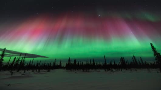 A severe solar storm created beautiful aurora borealis on March 17, 2015 in Alaska.