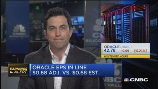 Oracle EPS in line, revenue misses