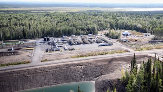 Quicksilver Resources' compressor site in Horn River Basin, British Columbia.