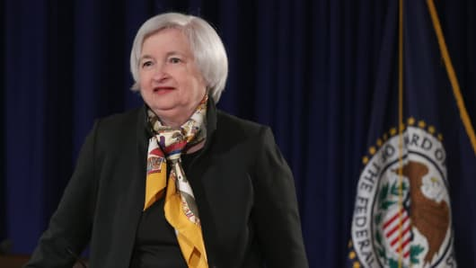 Federal Reserve Bank Chair Janet Yellen arrives for a news conference following a meeting of the Federal Open Market Committee at the Fed headquarters March 18, 2015 in Washington, DC.