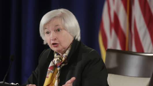 Federal Reserve Chair Janet Yellen speaks at a news conference following the two-day Federal Open Market Committee meeting in Washington March 18, 2015.