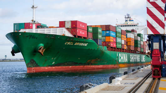The China Shipping Container Lines CSCL Brisbane container ship departs Terminal 3 of Port Botany in Sydney, Feb. 6, 2015.