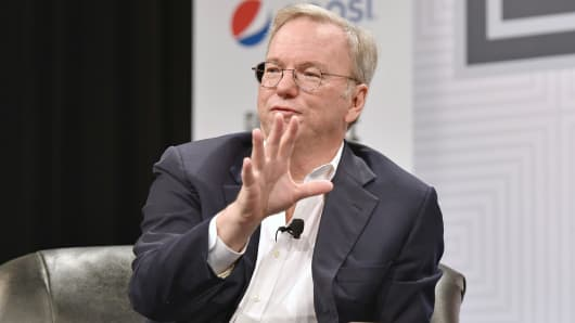 "Google Executive Chairman Eric Schmidt speaks at ""How Innovation Happens"" during the 2015 SXSW Music, Film + Interactive Festival in Austin, March 16, 2015."