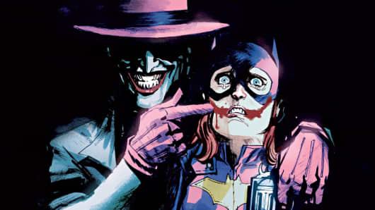 The Joker menacing Batgirl