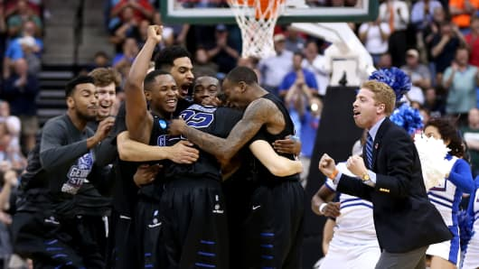 Georgia State upsets 3rd seated Baylor in the second round of the 2015 NCAA Men's Basketball Tournament.
