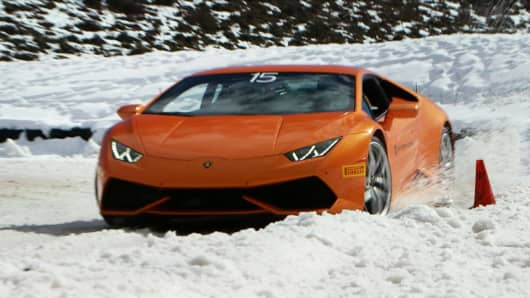 A Lamborghini Huracan at the Winter Accademia in Aspen, Colorado.