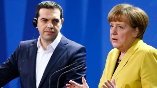 German Chancellor Angela Merkel and Greek Prime Minister Alexis Tsipras following talks at the Chancellery in Berlin March 23, 2015.