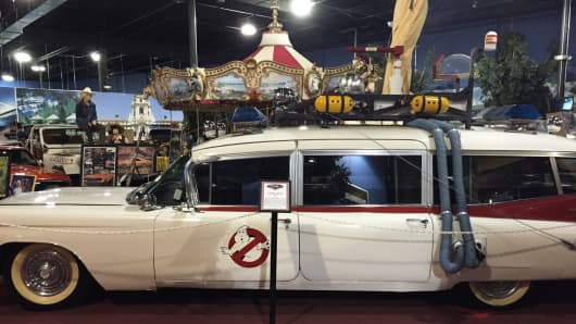 "The Ecto-1 car used to fight ghosts in New York in ""Ghostbusters."""