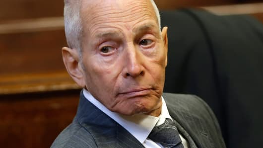 Real estate heir Robert Durst appears in a New York criminal courtroom on December 10, 2014, for his trial on charges of trespassing on property owned by his estranged family.