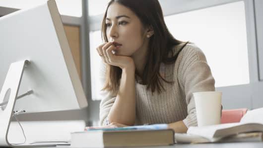 Online education woman computer