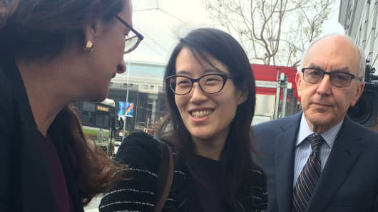 Ellen Pao (center) arrives outside the San Francisco Superior Court with her lawyers on March 24, 2015.