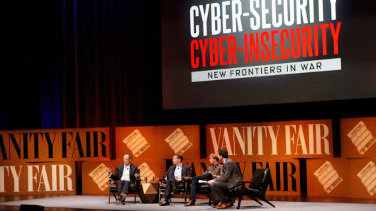 "(L-R) General Keith Alexander, former director of the NSA; FireEye COO Kevin Mandia; Lookout founder and executive chairman John Hering and moderator Andrew Ross Sorkin of CNBC's ""Squawk Box"" speak onstage during 'Cyber-Security/Cyber-Insecurity' at the Vanity Fair New Establishment Summit at Yerba Buena Center for the Arts on October 8, 2014, in San Francisco."