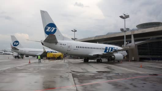 A file picture of Boeing 737 passenger jets operated by UTAir Aviation