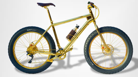 This $500,000 mountain bike is made with 24-karat gold. The chain, spokes and pedals are all covered in gold, and its emblem has 500 black diamonds and 600 yellow sapphires.