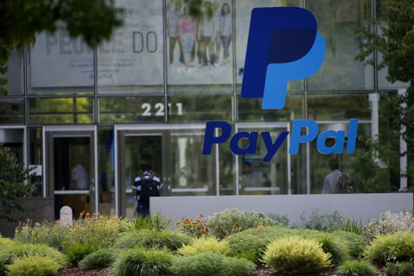 PayPal signage is displayed in front of eBay Inc. headquarters in San Jose, California,
