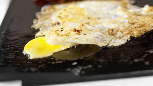 Broken over-easy eggs