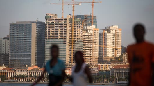 New skyscrapers being built in the business district of Luanda, Angola