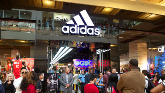 An Adidas Store is shown at the Galleria Mall in Houston.