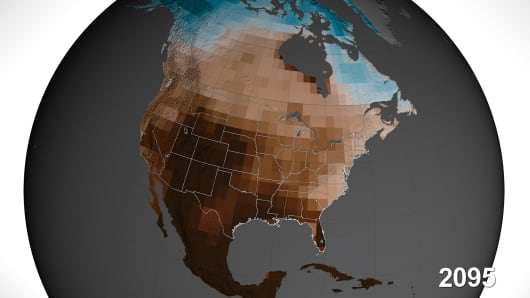 "Climate scientists forecast a ""megdrought."" Browns show lower soil moisture and blues indicate higher soil moisture regions."
