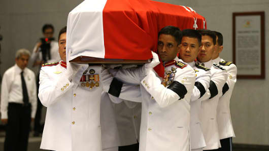 The casket of Lee Kuan Yew at the University Cultural Centre, National University of Singapore