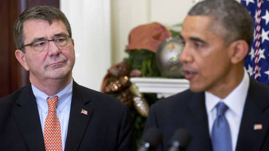 Defense Secretary Ashton Carter and President Barack Obama.